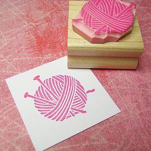 Yarn And Needles Hand Carved Rubber Stamp - stickers & stamps
