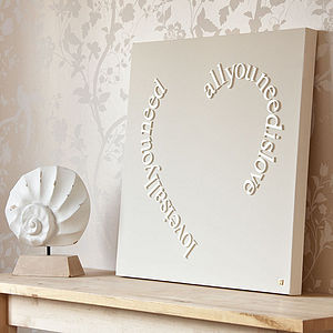 Personalised All You Need Is Love Canvas - home accessories