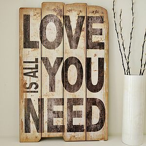 'LOVE' Wooden Wall Sign