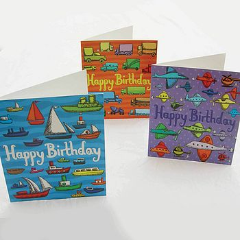 Boats+Tractors Birthday Cards -3 For £5