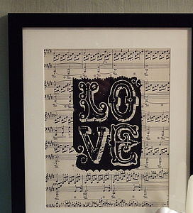 'Love' Handprinted Vintage Music Poster - contemporary art