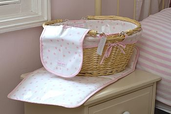Baby Girl's Oilcloth Wicker Changing Basket