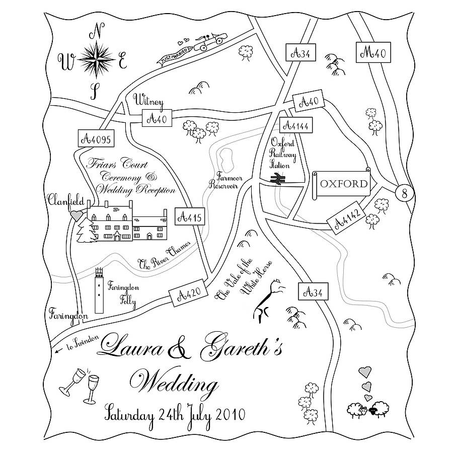 Custom Wedding Map Mono Colour Design