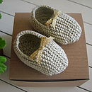 Organic Cotton Baby Slippers in Rhubarb