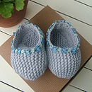 Organic Cotton Baby Slippers in Sky Blue