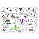 Custom Wedding Map - Colour Accent Illustration
