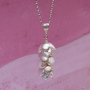 Iridana - White Coin Pearl & Silver Necklace