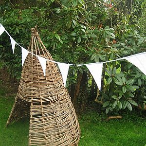 White Wedding Bunting - Can Be Personalised - outdoor decorations