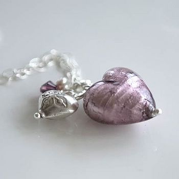 Amethyst Heart Cluster Necklace