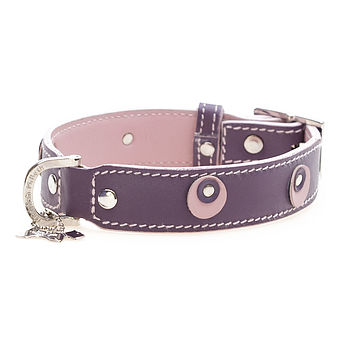 Leather Dog Collar Moet Purple