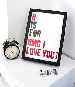'OMG I Love You' Alphabet Print