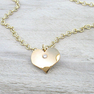 Handmade 18ct Gold Heart Pendant With Diamond - fine jewellery