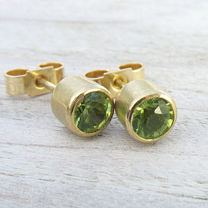 Handmade Peridot 18ct Gold Stud Earrings - women's jewellery