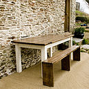 Bantham Reclaimed Wood Table And Benches Set
