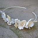 Pearl And Crystal Floral Handbeaded Tiara