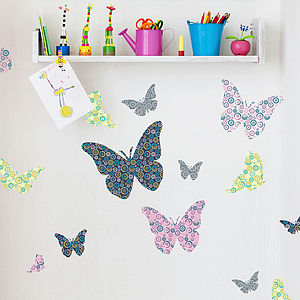Patterned Butterflies Wall Stickers