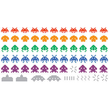 Multicoloured Space Invaders Wall Stickers