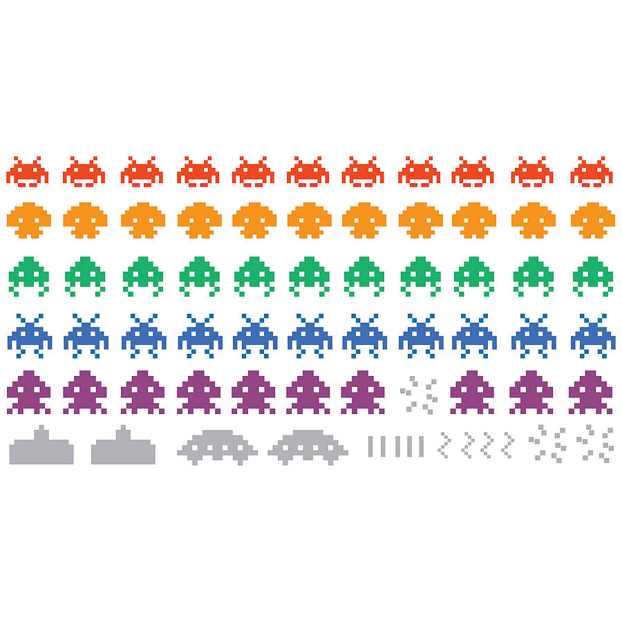 Multicoloured Space Invaders Wall Stickers By Spin Collective