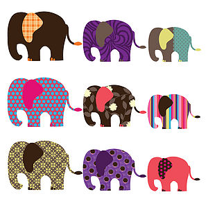 Patterned Elephant Wall Stickers - shop by price