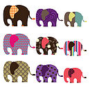 Patterned Elephant Wall Stickers