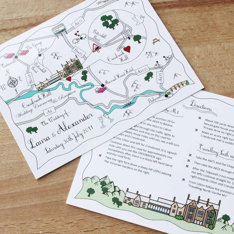Wedding Invitations With Maps: Wedding Or Party Map Colour Accent Postcard By Cute Maps