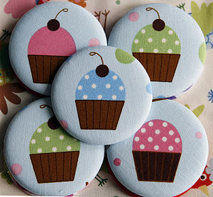 Cupcake Handbag Mirror With Pouch - compact mirrors