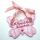 Personalised Pale Pink Butterfly Door Sign