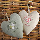 personalised birthday heart backs, green and cream