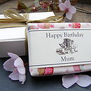 Personalised Soap in optional bespoke fabric wrapping (Geranium, Lemongrass & Lavender Fragrance)