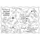 Custom Wedding Or Party Map - Mono Colour Illustration