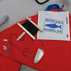 Traditional mackerel hand line in recycled sailcloth bag - outdoor toys & games