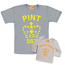Matching Fluorescent Dad/Son Or Daughter Pint T Shirts