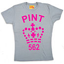 Ladies Pint T Shirt In Fluorescent Pink And Grey