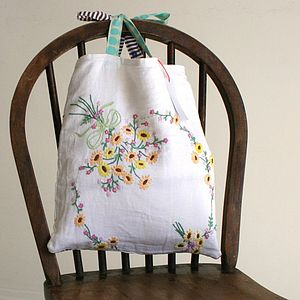 Handmade Christening Blanket & Vintage Bag - decorative accessories