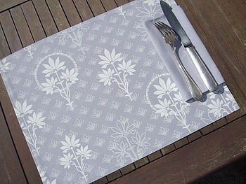 Grey Floral Printed Organic Placemat Pack Of Four