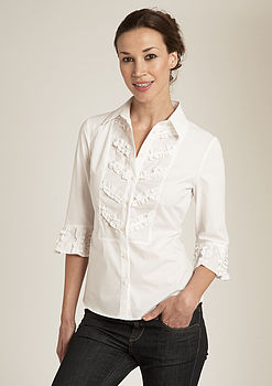 Appliqué Frill Three-Quarter Sleeve Shirt
