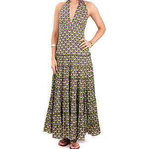 Flamenco Halterneck Maxi Dress - dresses