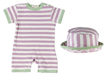Organic Summer Striped Baby Romper And Sun Hat