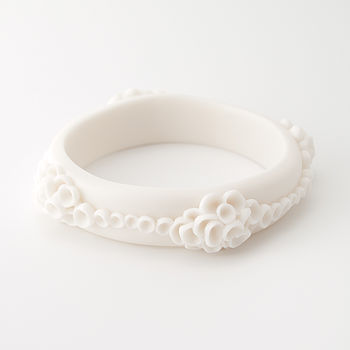 Costa Del Sol Porcelain Bangle Bracelet White
