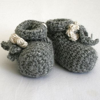 Soft Grey Knitted Baby Booties