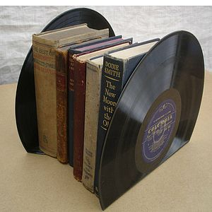 Large Vinyl Record Bookends LP's - office & study