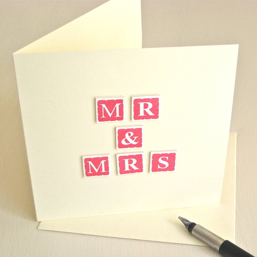 handmade mr and mrs wedding card by chapel cards