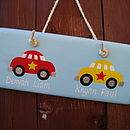 twin car door sign_pale blue with cherry red/sunflower