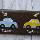 twin car door sign_chocolate with pale blue/sunflower