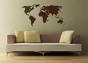 World Map Wall Sticker With Destination Markers - best gifts for him