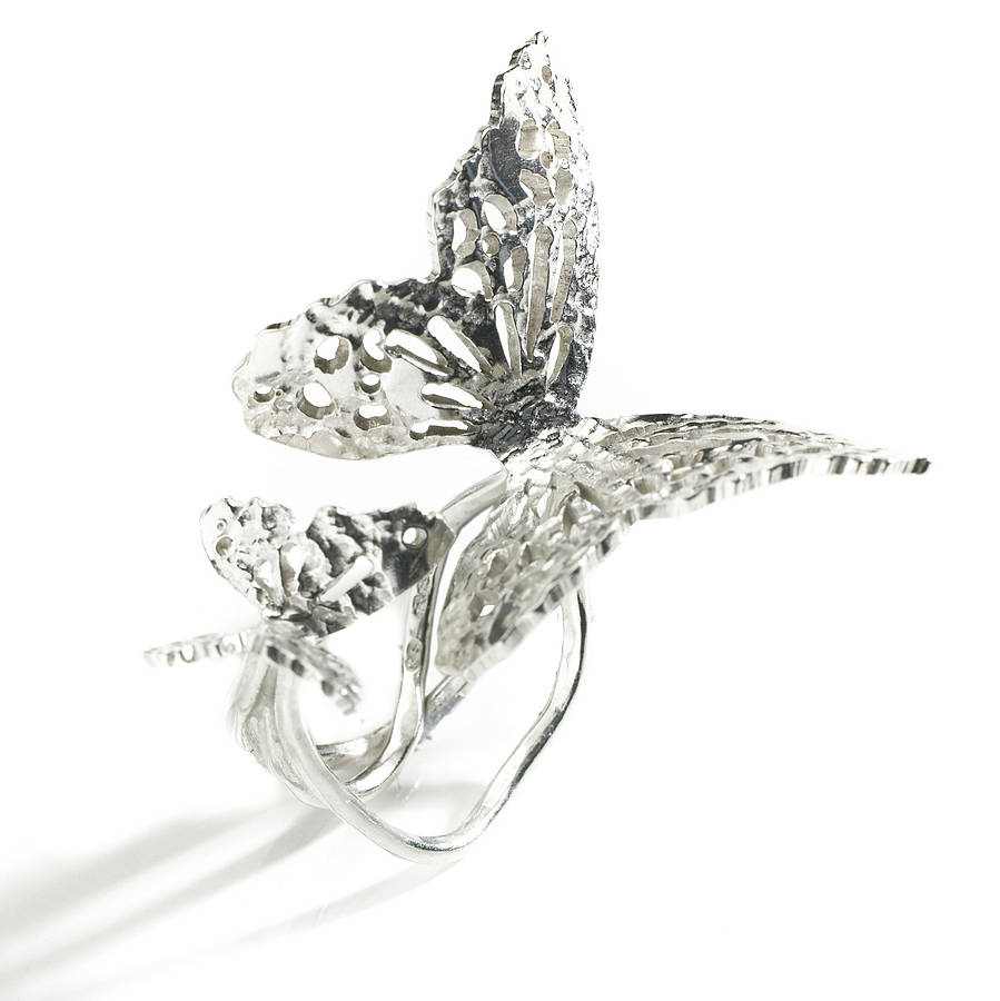 silver butterfly ring by kimberley selwood
