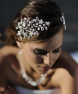Vine Pearl And Crystal Jewelled Headdress