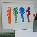 Guitar Headstocks Framed Screen Print