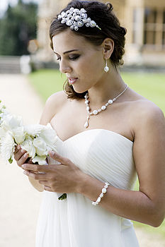 Deco Pearl And Crystal Jewelled Headdress