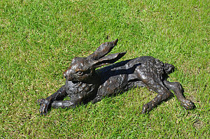 Bronze Laying English Hare
